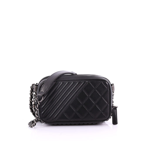 f49679232433 Chanel Coco Boy Camera Bag Quilted Leather Mini Black 3652002 – Rebag