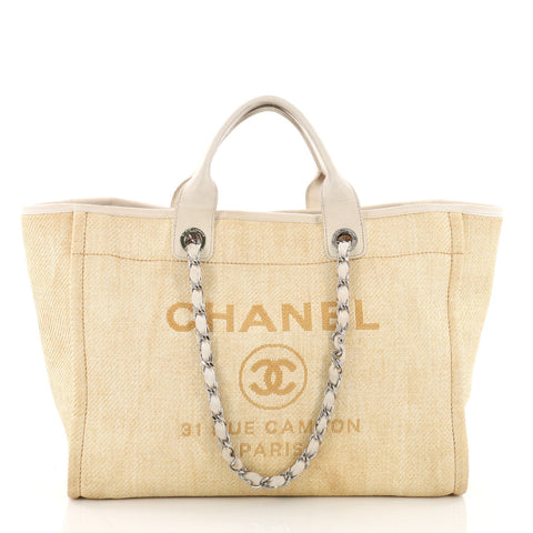d695fb5b7244 Buy Chanel Deauville Chain Tote Canvas Large Yellow 3654304 – Rebag