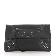 Balenciaga Envelope Clutch Classic Studs Leather Gray 3654306