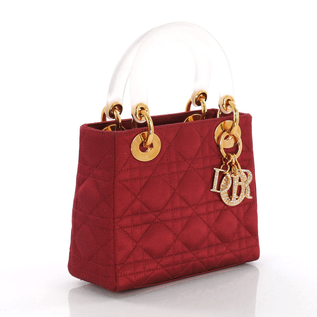 3b9449c874e Vintage Lady Dior Handbag Cannage Quilt Satin with Crystals Mini