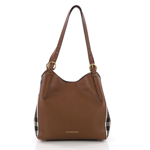 7fbab03b3185 Buy Burberry Canterbury Tote Leather and House Check Canvas 3657302 – Rebag
