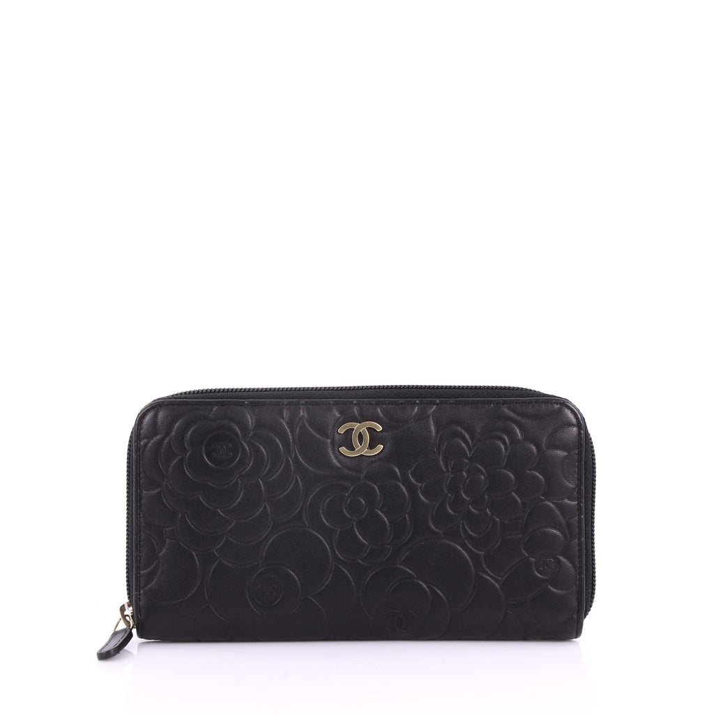 ac665d54 Chanel Zip Around Wallet Camellia Lambskin Black 3661101