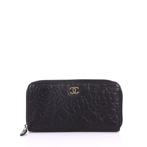 1f90a162dc3e Chanel Zip Around Wallet Camellia Lambskin Black 3661101 – Rebag