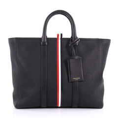 Thom Browne Short Tote Striped Leather Large Black 3661501