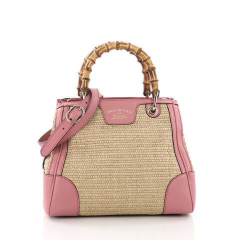 8d09c7d77a3 Gucci Bamboo Shopper Tote Straw Small Pink 3662406 – Rebag
