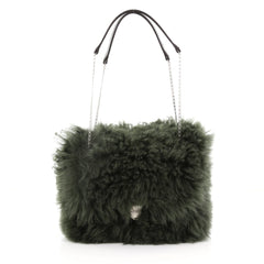 Celine Chain Flap Bag Shearling Small - Designer Handbag Green 3662731