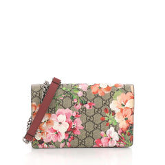 Gucci Chain Wallet Blooms Print GG Coated Canvas Brown 3662733
