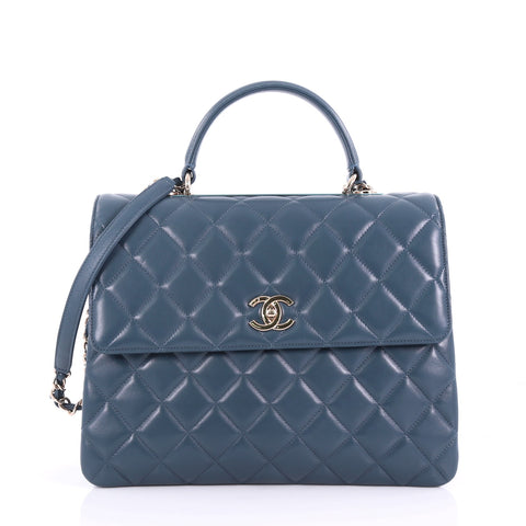 ae762ee3f62d15 Chanel Trendy CC Top Handle Bag Quilted Lambskin Large Blue 3664001 – Rebag