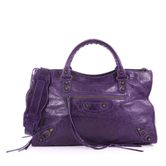 Balenciaga City Classic Studs Handbag Leather Medium Purple 3664101