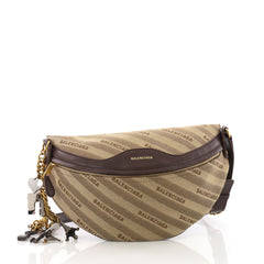 Balenciaga Souvenir Belt Bag Jacquard With Leather XS Brown 3664901