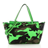 Valentino Rockstud Tote Camo Leather and Canvas Medium Green 3667601