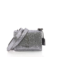 Saint Laurent Sunset Satchel Glitter Small Silver 3669434