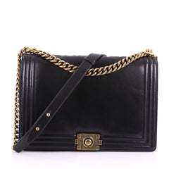 Chanel Reverso Boy Flap Bag Glazed Calfskin Large Black 3669479