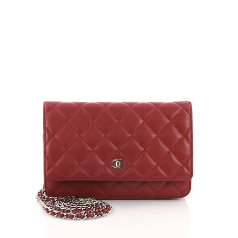 Chanel Wallet on Chain Quilted Lambskin Red 3669480 – Rebag 2d7e131fa306a