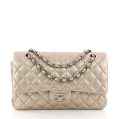 Chanel Classic Double Flap Bag Quilted Lambskin Medium Silver 3669801