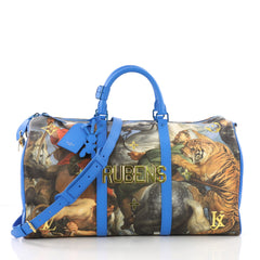 Louis Vuitton Keepall Bandouliere Bag Limited Edition Jeff Koons Rubens Print Canvas 50