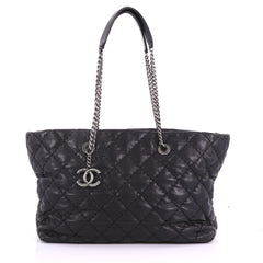 Chanel Ultimate Stitch Aged Chain Tote Quilted Calfskin Large Black 3672303