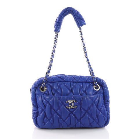 5d2205284fad6b Chanel Bubble Camera Bag Quilted Lambskin Small Blue 3672306 – Rebag