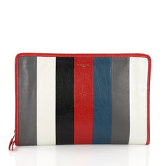 Balenciaga Bazar Pouch Striped Leather - Designer Handbag Red 3674405