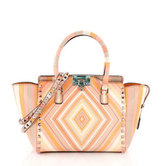 Valentino Rockstud 1975 Tote Striped Leather Small Pink 3674411
