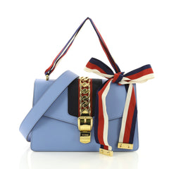 Gucci Sylvie Shoulder Bag Leather Small Blue 3674413