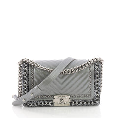 Chanel Jacket Boy Flap Bag Quilted Lambskin with Tweed Gray 3674420