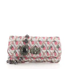 Miu Miu Crystal Clutch Embellished Jacquard Medium Pink 3674435