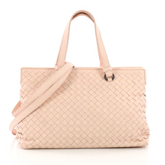 Bottega Veneta 2-Pocket Convertible Tote Intrecciato Nappa Medium Pink 3674438