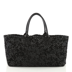 Bottega Veneta Cabat Tote Velours and Intrecciato Nappa Blue 3674445