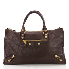 Balenciaga Work Giant Studs Handbag Leather Brown 3674803
