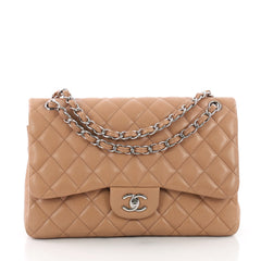 Chanel Classic Double Flap Bag Quilted Caviar Jumbo Neutral 3675102