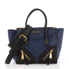 Miu Miu Biker Convertible Tote Leather Medium Blue 3675304