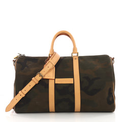 Louis Vuitton Keepall Bandouliere Bag Limited Edition Supreme Camouflage Canvas 45 Green  3675901