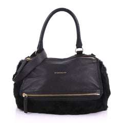 Givenchy Pandora Handbag Leather and Fur Medium Black 3680303