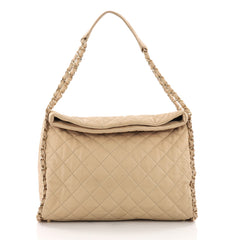 Chanel Chain Me Hobo Quilted Leather Large Neutral 3681701