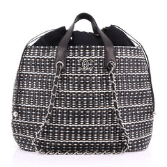 Chanel Shopping Tote Woven Straw Large Black 3683203