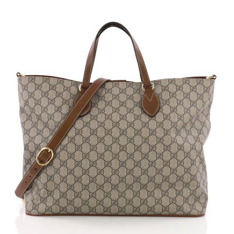 6c7d7a01d8c1 Gucci Convertible Soft Tote GG Coated Canvas Small Brown 3683406 – Rebag