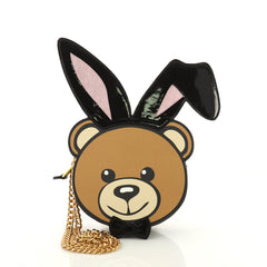 Moschino Playboy Bear Chain Crossbody Bag Leather with 3684108