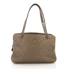 Chanel CC Crown Tote Quilted Leather Medium Gold 3684127