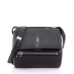 Givenchy Chain Pandora Box Handbag Stingray Mini Black 3684129