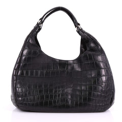 Bottega Veneta Campana Hobo Crocodile Large Black 3685104