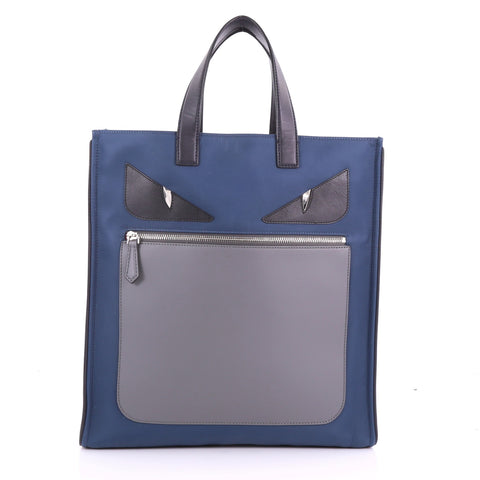 Fendi Monster Tote Nylon and Leather Blue 3690245 – Rebag fe2f8985cea05