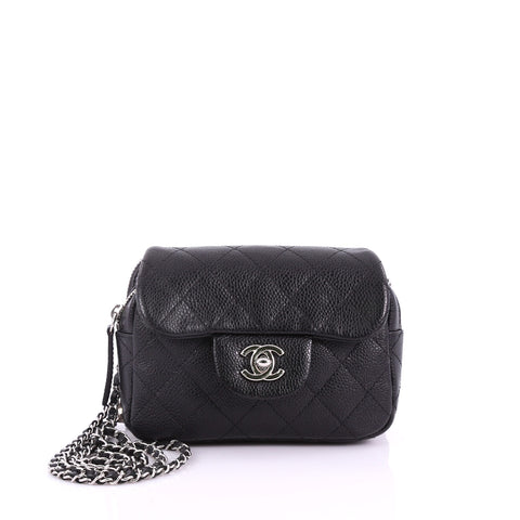 84c32379c36 Wallet on Chain Flap Bag Quilted Caviar Mini