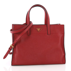 Soft Triple Pocket Convertible Tote Saffiano Leather