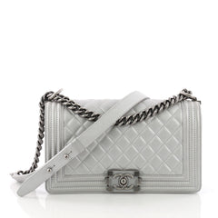 Chanel Boy Flap Bag Quilted Calfskin Old Medium Silver 3692603
