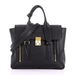 3.1 Phillip Lim Pashli Satchel Leather Medium Black 3693201