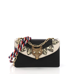 Gucci Broche Flap Bag Leather with Snakeskin Small Black 3693603