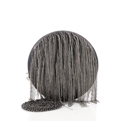 Round Evening Bag Chain Embellished Leather