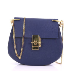 Chloe Drew Crossbody Bag Leather Small Blue 3694035