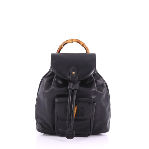 fc11bd4541e Gucci Vintage Bamboo Backpack Leather Mini Black 3694044 – Rebag